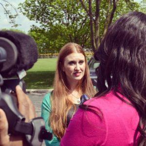Leah Segedie being interviewed